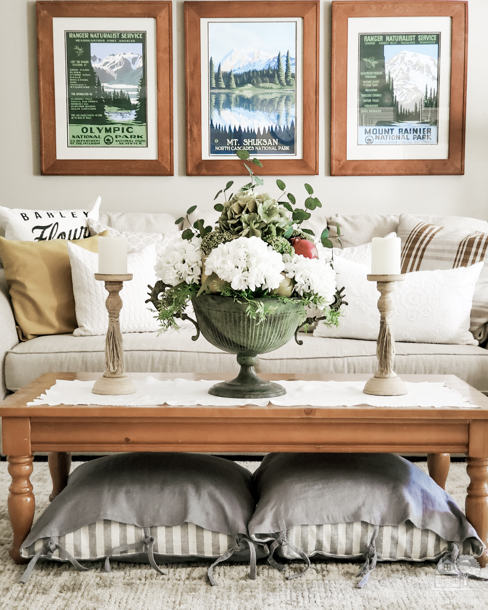 Subtle hints of fall decorate our family room