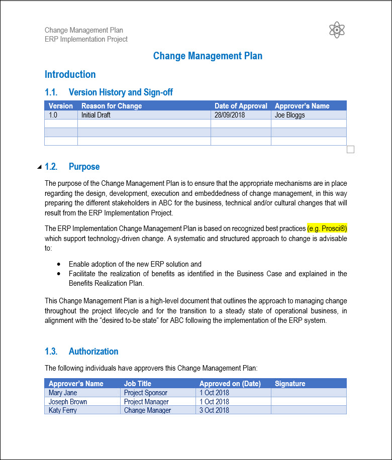 You'll be allocating resources, deciding on a timeline and budget, and creating milestones to help chart progress along the way. Change Management Plan Template Sample And Example Project Management Templates