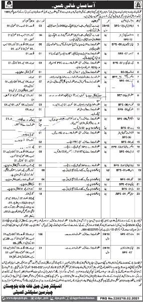 Prison Department Balochistan Jobs 2021