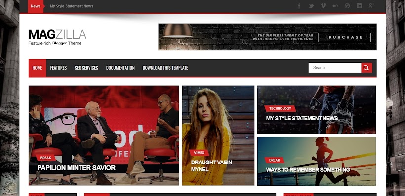 Mag Zilla Free Blogger Template