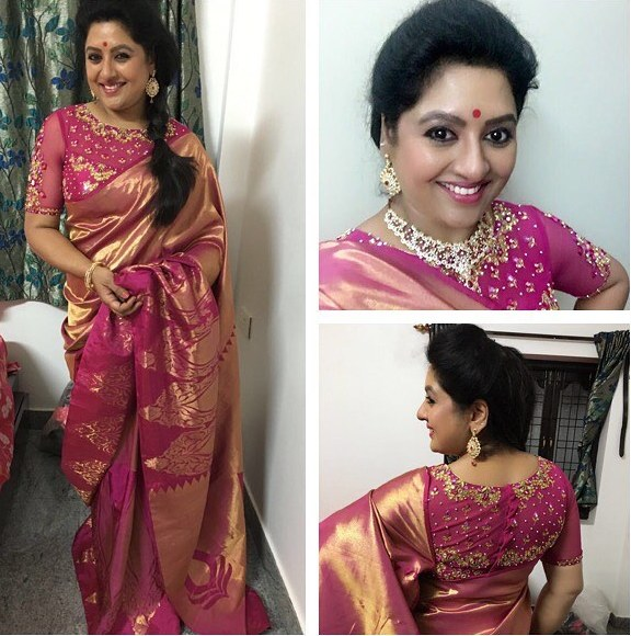LATEST SOUTH INDIAN DESIGNER SAREE AND BLOUSE NECK DESIGNS COLLECTIONS