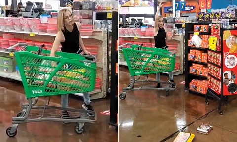 Woman%2Bgoes%2Bberserk%2Bat%2Bsupermarket%2Bwhen%2Bshe%2Bwas%2Basked%2Bto%2Bwear%2Ba%2Bface%2Bmask%2B%255Bphotosvideo%255D%2B1 - Girl goes berserk at grocery store when she was requested to put on a face masks [photos/video]