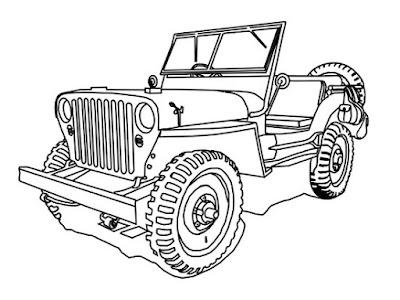 gambar mobil offroad sketsa