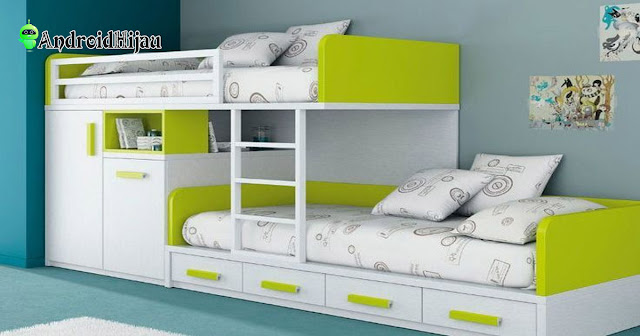 Inspirasi kamar tidur minimalis dengan kasur tingkat dan almari