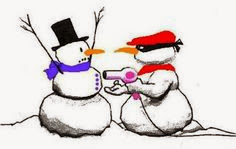 Funny snowman cartoon picture - Snowman hairdryer robber heist