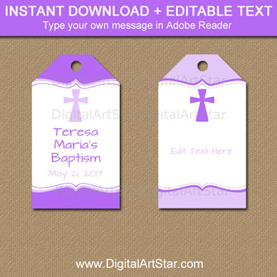 purple and lavender baptism hang tags for a girl's baptism, christening, first communion, confirmation