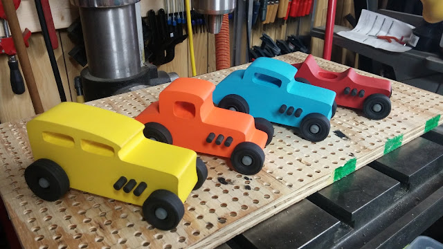 20151218_113659 Wood Toy Car  - Hot Rod Freaky Ford - Group - MDF - Brushed Acrylic Craft Paint - Black Wheels - Gray Hubs - Odin Christmas