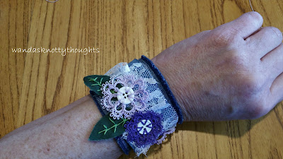 Tatted buttons on denim cuff in purples, worn @ wandasknottythoughts