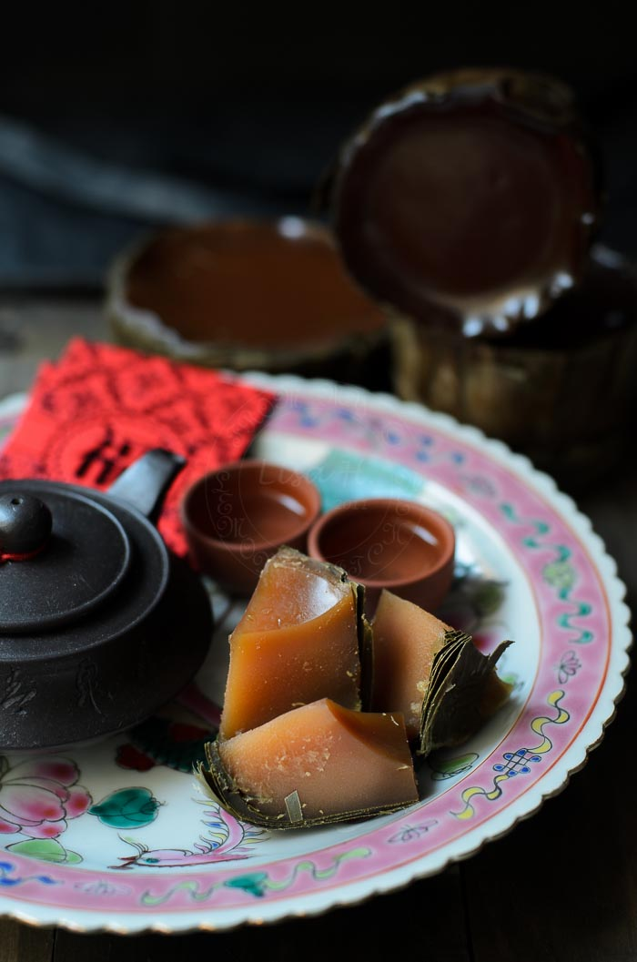 Nian gao is steamed sweet sticky rice cake