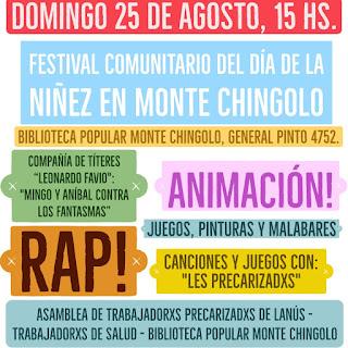 El Festival Comunitario del Día de la Niñez en Monte Chingolo se pasó al Domingo 25