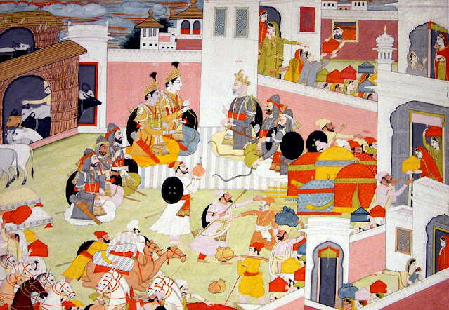 Rama and Krishna being received at the Court of the King Ugrasena at Mathura