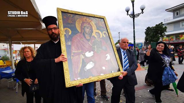 Η εικόνα της Παναγίας της Κουκουζέλισσας επέστρεψε από το Περιστέρι στη Νέα Κίο Αργολίδας (βίντεο)