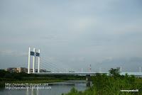 多摩川に架かる是政橋の写真