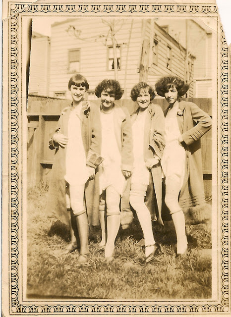 Sassy girls showing off their stockings. Poss. 1920's, Elizabeth, NJ.