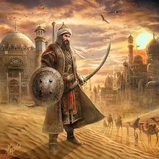 صورة لفارس عربي مع سيفه ودرعه