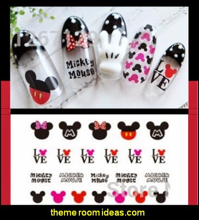 Mickey mouse nail stickers Mickey Mouse themed nails - Disney themed nail designs - Minnie Mouse nail design ideas - Disney Princess themed nail art - cute nails - nail art design ideas - themed nail decals - cute nail decals - cute nail stickers -