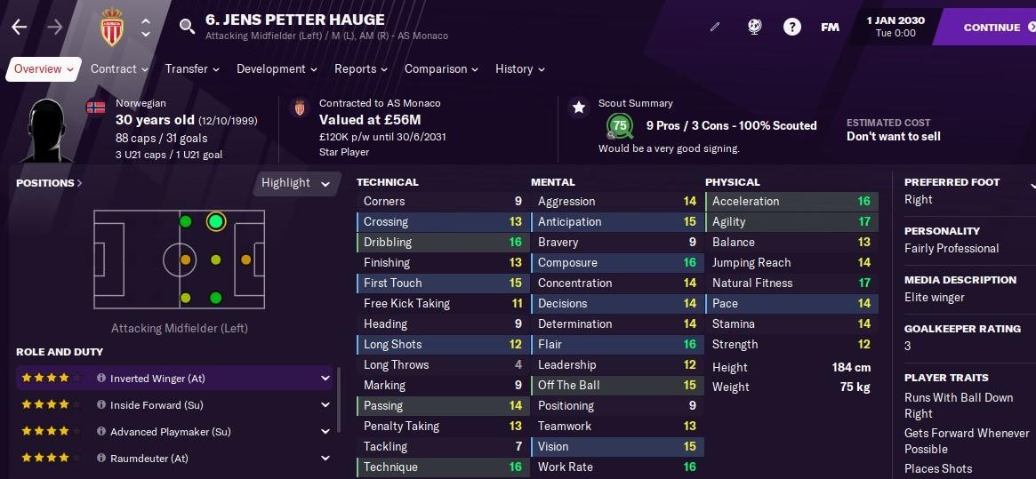 Jens Petter Hauge Football Manager 2021 FM2021