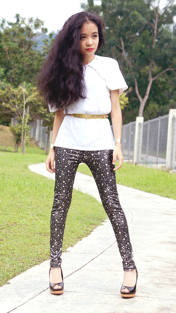 The Cape Sleeveless Top in White, SEA Citizen, Black Silver Star Print Leggings, Handmade Faux Gold Metal Belt, Handmade Faux Gold Metal Cuffs, Peep Toe Heels, Vincci, NYX Lipstick Fire, Futuristic meets Greek Goddess