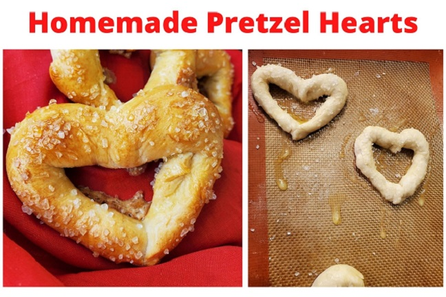 this is a soft pretzel twisted into a heart shaped with lots of salt on top