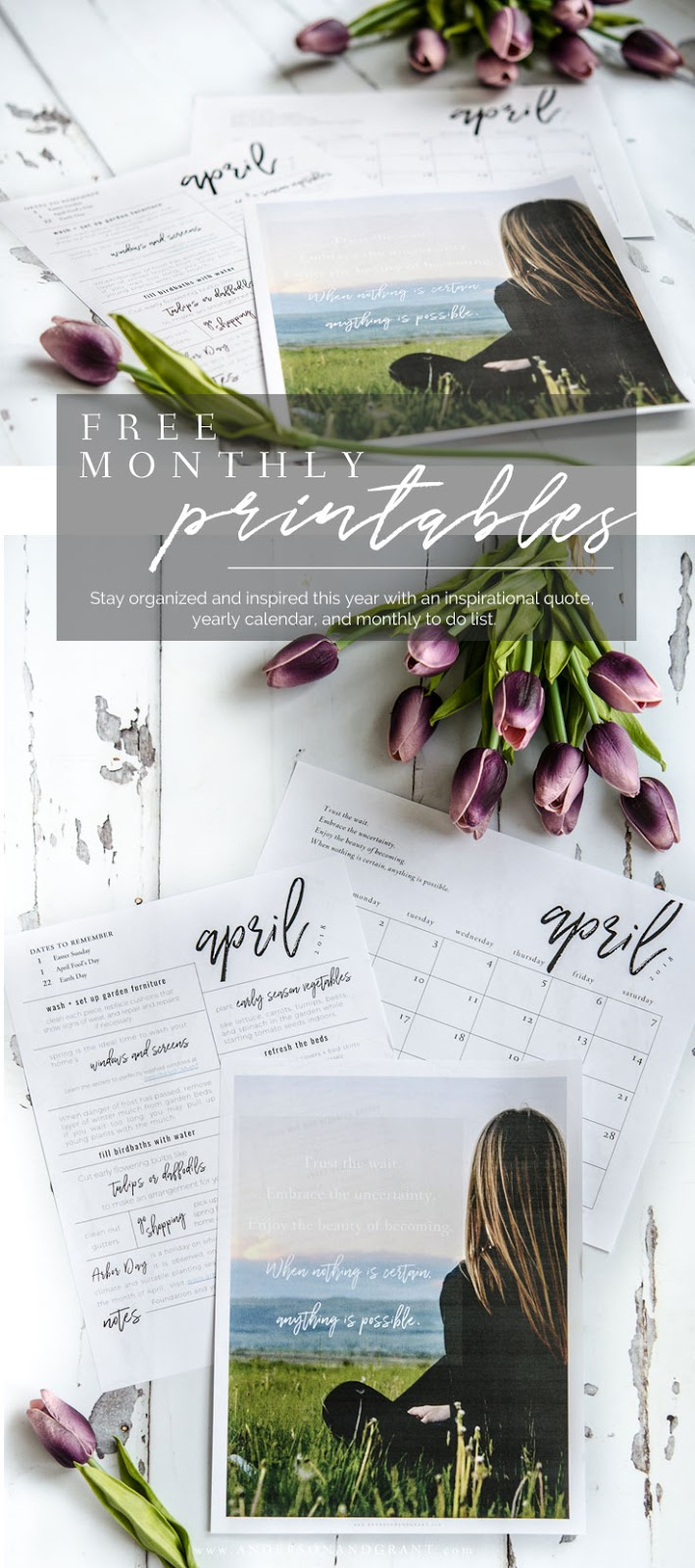 Stay organized + inspired in 2018 with these free printables - an inspirational quote, 2018 free printable calendar, + monthly to do list. #freeprintable #organization | www.andersonandgrant.com