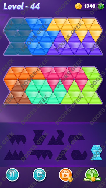 Block! Triangle Puzzle 9 Mania Level 44 Solution, Cheats, Walkthrough for Android, iPhone, iPad and iPod