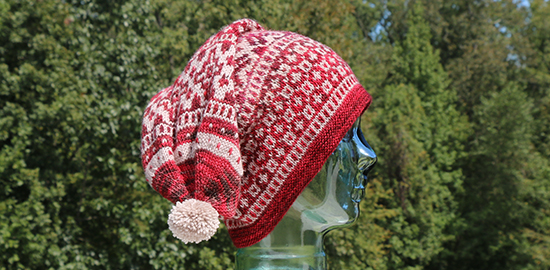 Side View of the Red and Beige Version of the Scandinavian Hat