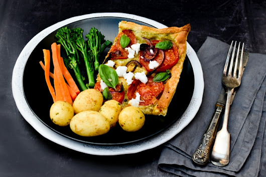 Puff Pastry Tomato, Onion & Feta Tart - Vegan Recipe