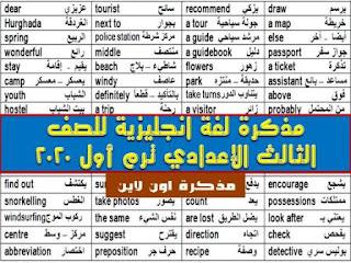 مذكرة لغة انجليزية للصف الثالث الإعدادي ترم أول 2020 مستر هشام أبو بكر
