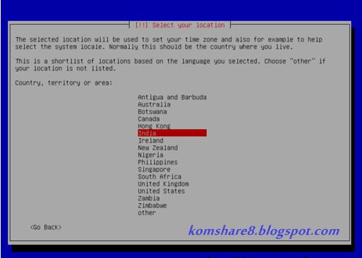 Pemilihan Lokasi pada Debian