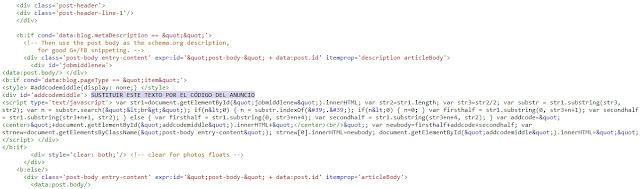 Código para colocar anuncios en los artículos de Blogger