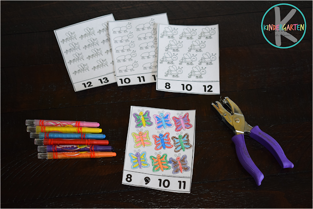 hole punching, self correcting counting 1-30 with number writing practice
