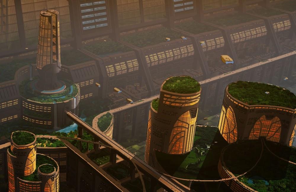 Rooftop gardens in a Martian city by Jon Hrubesch