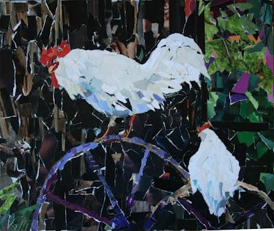 gambar kolaj 2 ekor ayam jantan berwarna putih
