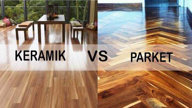 perbandingan Keramik motif kayu vs lantai parket kayu