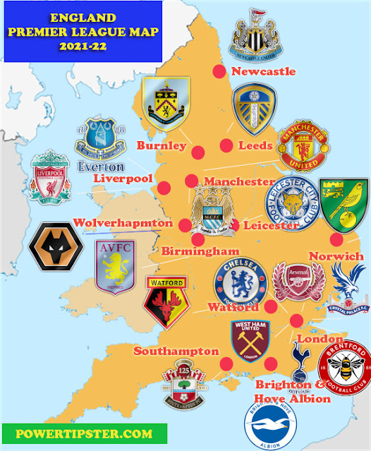 Premier League 2021-22 map by powertipster