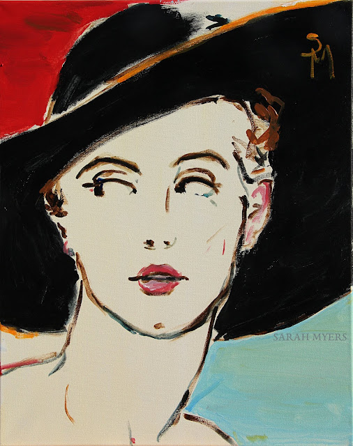 painting, art, sarah, myers, fashion, face, hat, eyes, portrait, arte, pintura, style, design, modern, contemporary, acrylic, black, red, blue, hat, glance, expression, woman, lady, figurative, canvas