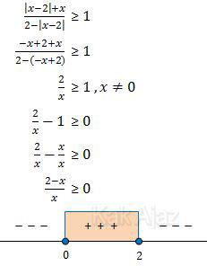 Penyekesaian pertidaksamaan harga mutlak untuk x < 2