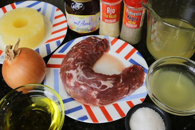 Ingredientes para solomillo de cerdo en salsa agridulce