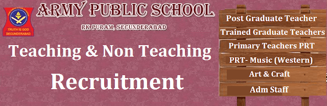 TS Jobs, Teaching and Non Teaching jobs, Non-Teaching Staff, Teaching Faculty, Army Public School, Army Welfare Education Society, TS State