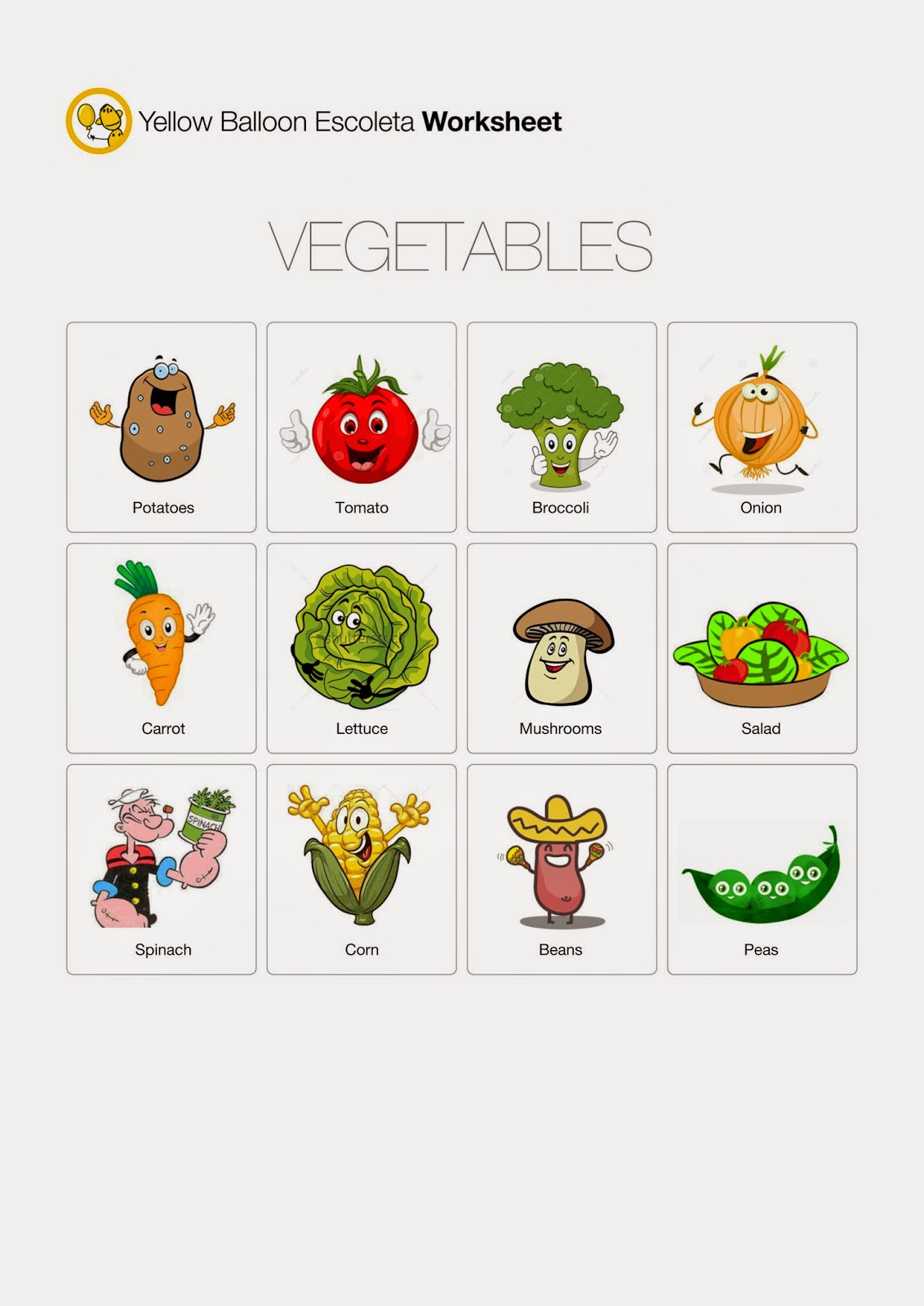 Yellow Balloon Escoleta Vegetables Worksheet