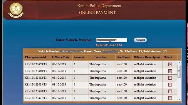 Kerala echallan Pending list