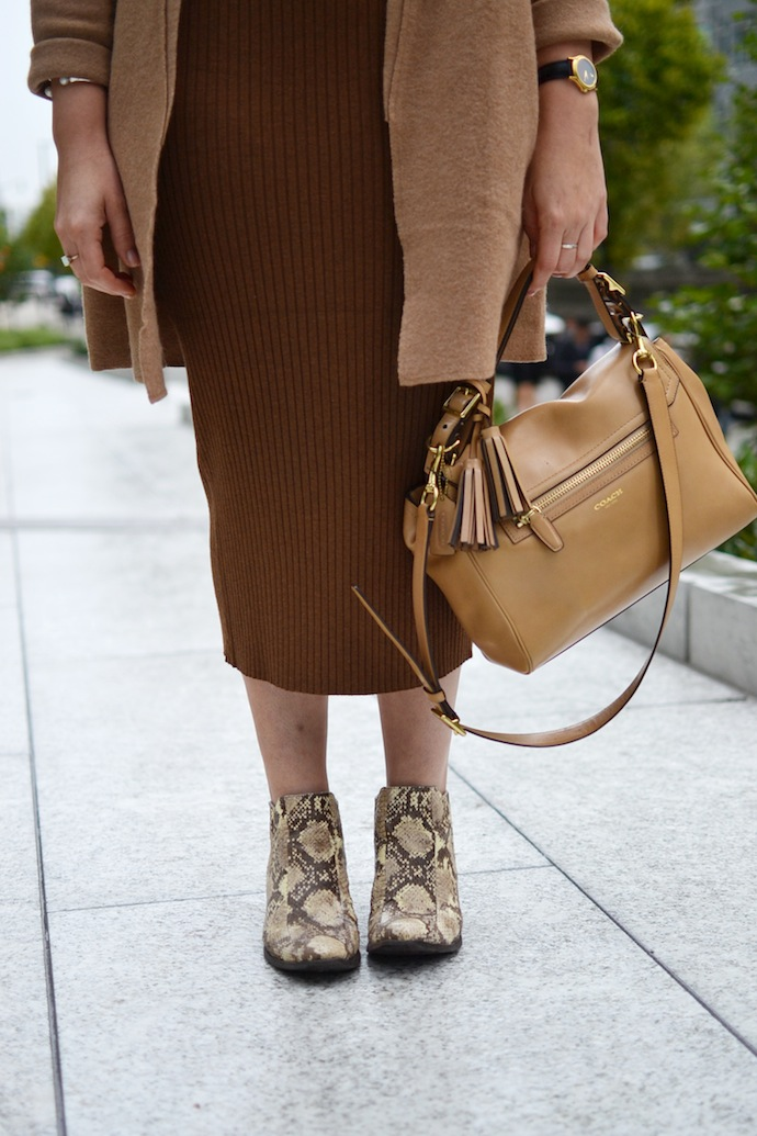 Lord and Taylor Merino Wool camel coat and Le Chateau Textured Knit midi dress Vancouver fashion blogger
