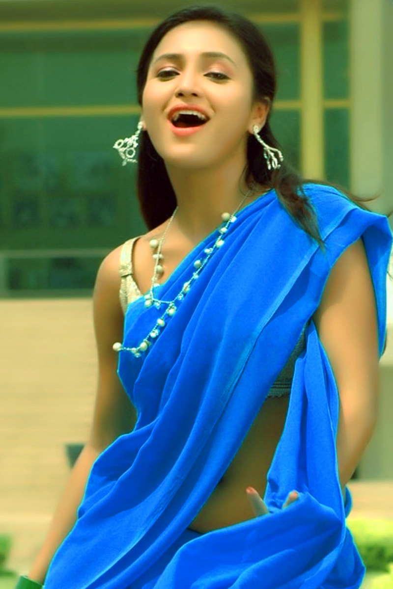 Telugu TV Anchor Sarayu Navel Show Stills In Transparent Blue Saree