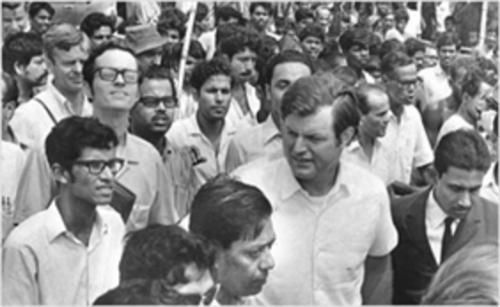 US Senator Edward Kennedy with Hindu refugees from Bangladesh in 1971