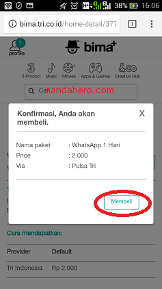 cara paket chatting whatsapp tri 3