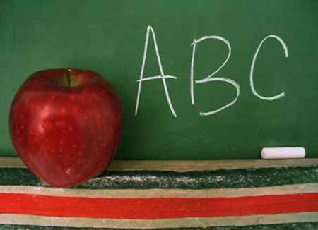 apple next to a chalkboard with abc's written on it