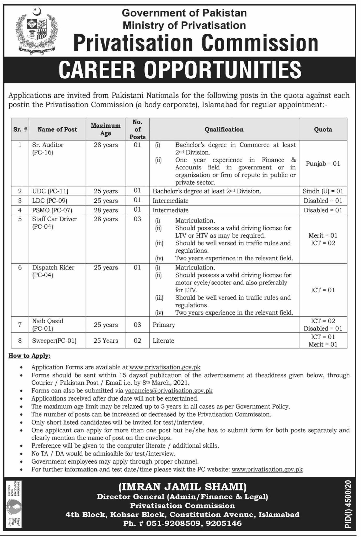 Ministry of Privatization - Privatization Commission Jobs Jobs 2021 in Pakistan - Download Job Application Form - www.privatisation.gov.pk  Send Your CV Online At - vacancies@privatisation.gov.pk