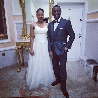 picture of uche agu and his wife Nicole on their wedding day