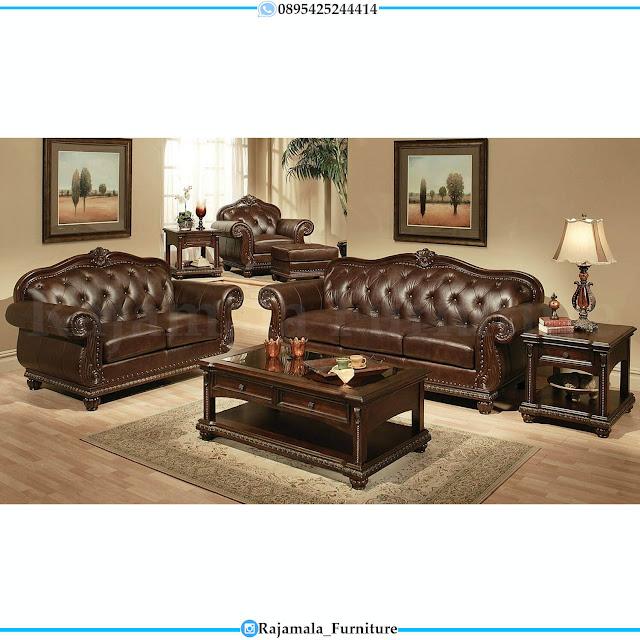 Sofa Tamu Kayu Jati Mewah Luxury Classic Terbaru Natural Dark Brown RM-0514
