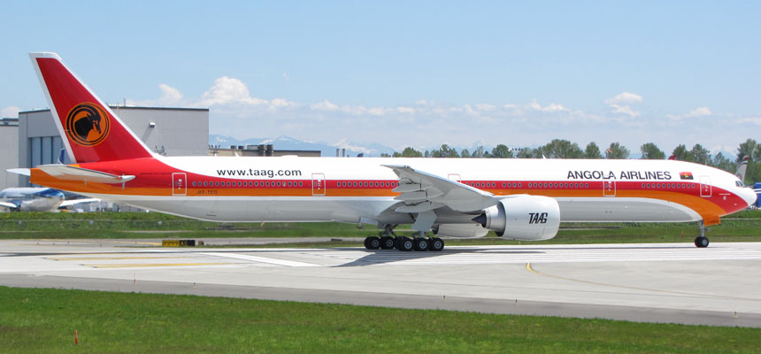 Aviation Air Routes news: BOEING: consegnato ad Angola Airlines un nuovo 777-300ER (Extended Range)